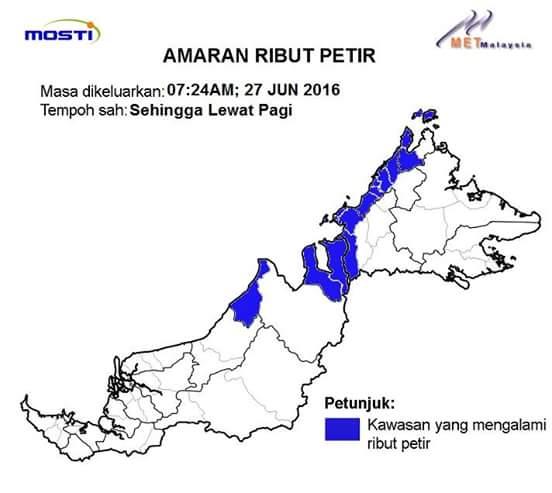 Amaran ribut petir sabah 27.06.2016