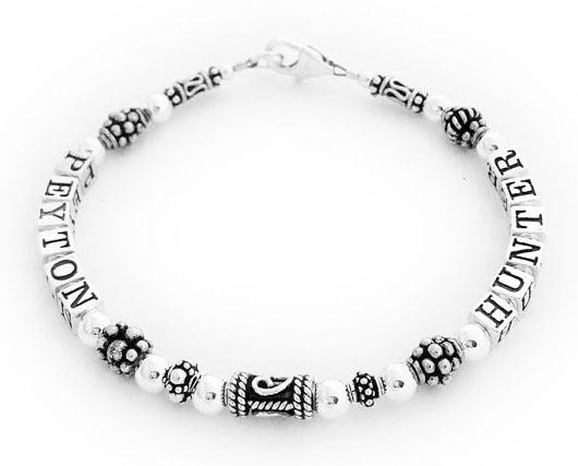 Peyton and Hunter Mother's Bracelet DBL-SS7 - 2 names on 1 string bracelet