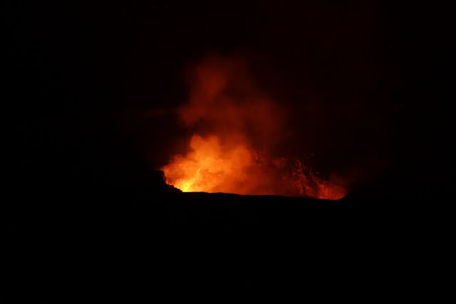 Watching lava glow at Jaggar museum observatory deck