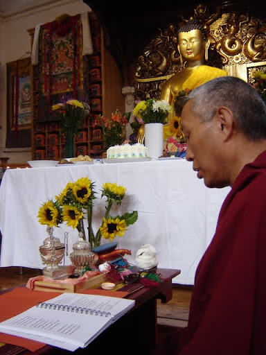 Geshe Tashi and new Lama Chopa Jorcho, July 2011, Jamyang Buddhist Centre, London