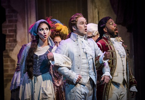 IN REVIEW: Mezzo-soprano SANDRA PIQUES EDDY as Angelina (left), tenor ANDREW OWENS as Don Ramiro (center), and baritone SIDNEY OUTLAW as Dandini (left) in Greensboro Opera's production of Gioachino Rossini's LA CENERENTOLA, August 2015 [Photo © by Artisan Images/David Wilson, used with permission]