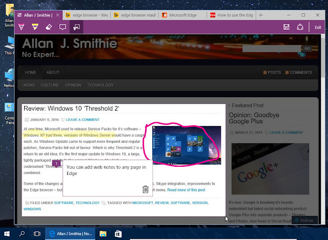 Microsoft Edge browser - webnotes