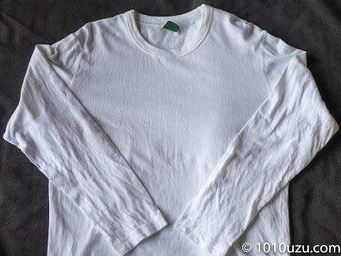 黄ばみが取れてきれいになった長袖Tシャツ