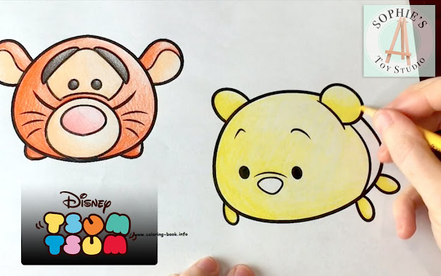 Disney Tsum Tsum Coloring Pages Adorable Tigger And Winnie The Pooh Plush  Stackable Toys