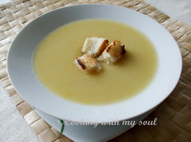 Supa de praz si cartofi copti