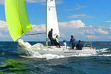 J/24 with spinnaker sailing Victoria States