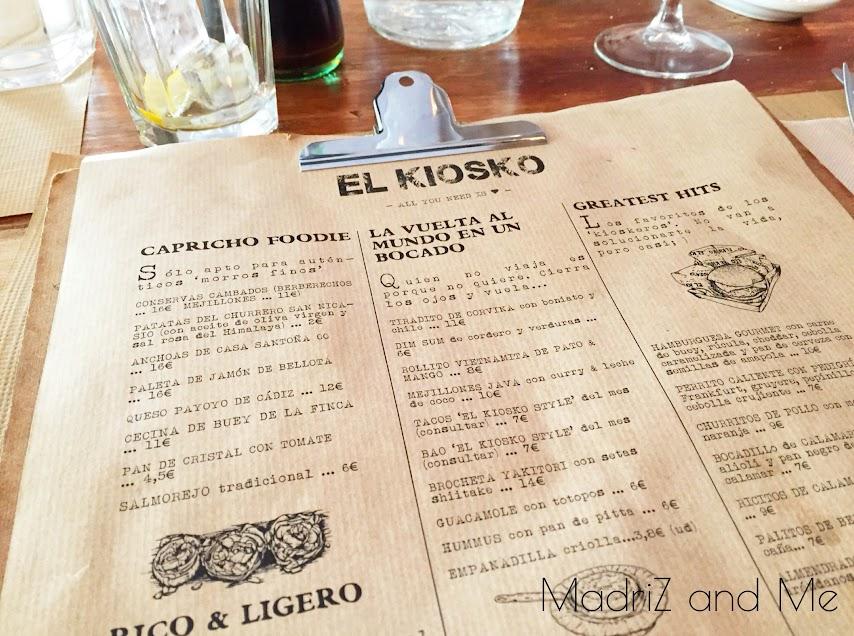 Carta del restaurante El Kiosko en Madrid