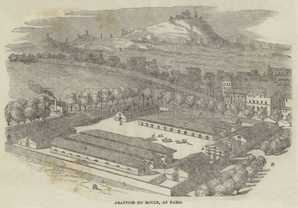 Abattoir du Roule, at Paris. Illustration for The Illustrated London News, 21 July 1849.