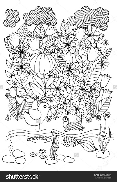 Doodle Flowersbirdfishes And Turtle On White Backdrop Hand Drawn Floral  Pattern