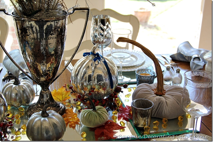 Fall Table-Mercury Glass and Velvet Pumpkins