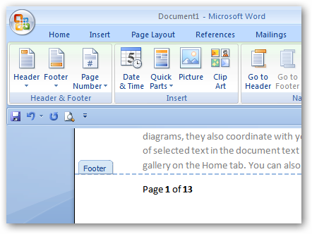 Set Footer Format in Microsoft Word