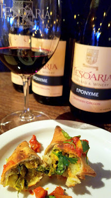 Tesoaria's Thursday Portland Vegan Takeover Menu - Shut Up and Eat Your Vegetables, Samosas with curry cauliflower and potato with a spiced tomato sauce, suggested pairing 2015 Riesling but you can try whatever wine you'd like - I enjoyed a red because I prefer red to white wine