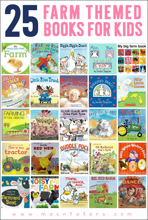 Farm themed books for kids, toddlers, and preschoolers. These books are great for a farm themed unit.