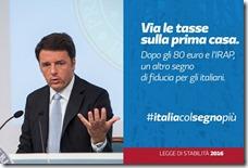La slide con cui Renzi annunciava l'abolizione dell'IMU sulla prima casa