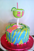 Custom teal and lime green animal print women's twenty first birthday cake with 3D martini glass with sugar crystals rim, limes and pink pearls