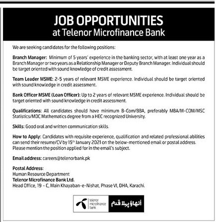 Telenor Micro Finance Bank Jobs December 2020 (50 Posts)