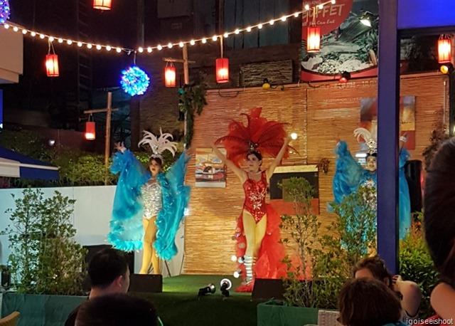 """Ladyboys"" performing at one of the fancy restaurants at Ao Nang."