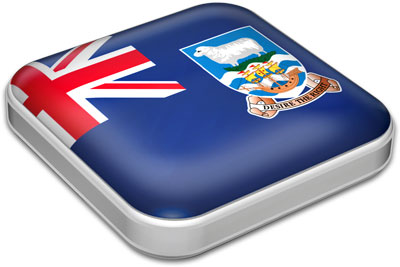 Flag of Falkland Islands with metallic square frame
