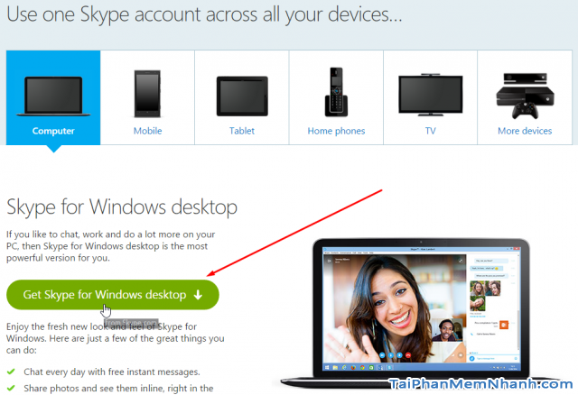Tải skype từ skype.com