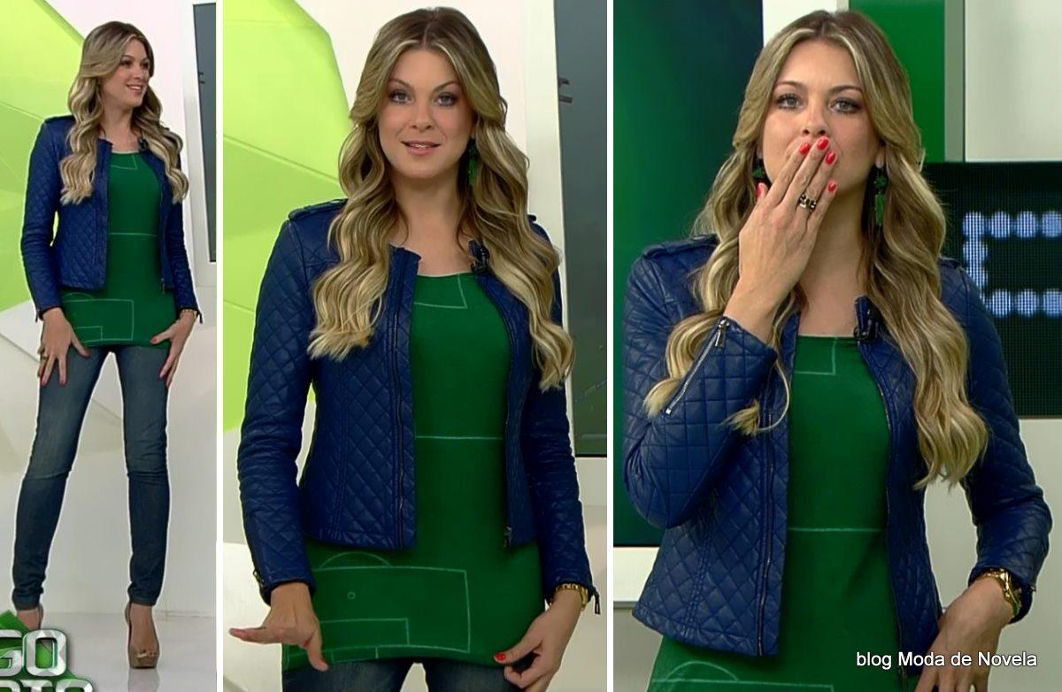 moda do programa Jogo Aberto - look da Renata Fan dia 28 de maio
