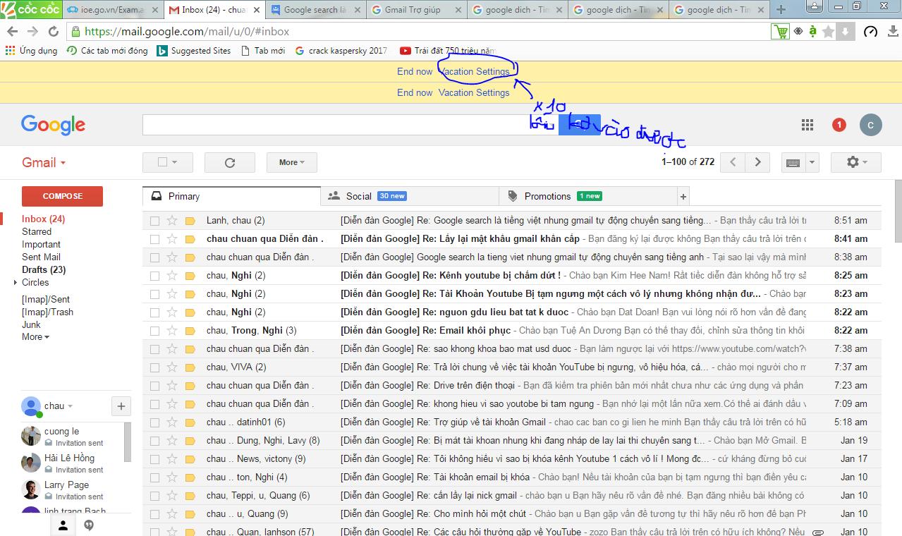 Google search là tiếng việt nhung gmail tự động chuyển sang tiếng anh - Google Product Forums
