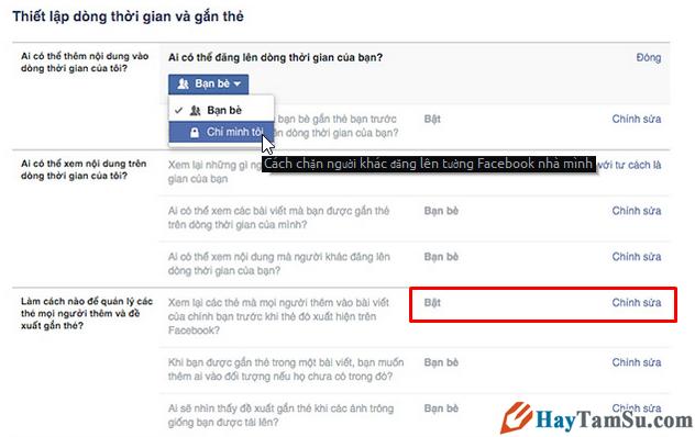chặn người khác đăng facebook