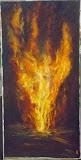 Tańczący z ogniem, olej, płótno, szpachla, 40/80 cm