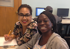 Teacher Aide Ilena Afuhaamango and Dominique Taylor working in the APD Learning Center
