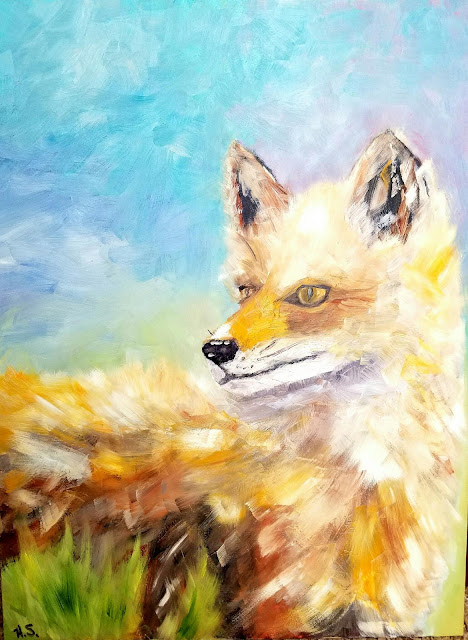oil painting of a fox