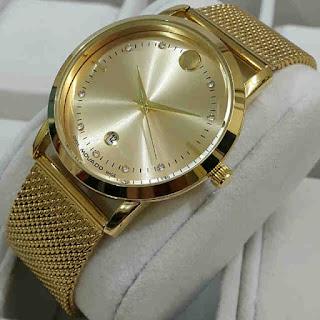 jam tangan Movado tgl rantai pasir Full gold