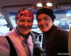 Julie and I keeping warm in the car before the race.