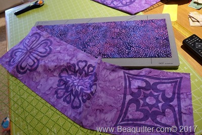 Purple batik table topper with prairie points2