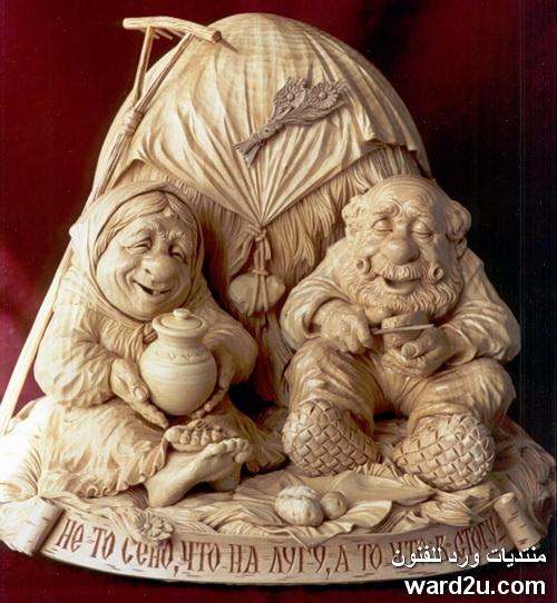 اقزام من خشب فى نحت الفنان الروسي Yuri Firsanov