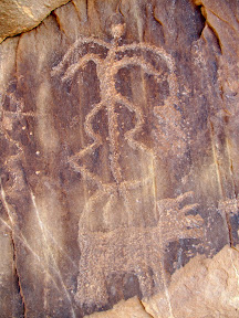 Petroglyphs in Three Finger Canyon. Whoa, dude, keep that thing in your pants!