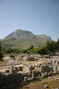 Ancient Corinth with Acrocorinth in the background