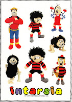 DENNIS THE MENACE SMALL AND LARGE, GNASHER SITTING AND LEANING ON A BONE, MINNIE THE MINX, BERYL THE PERIL, DESPERATE DAN