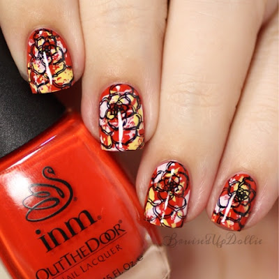 Inm out the door saran and floral stamping
