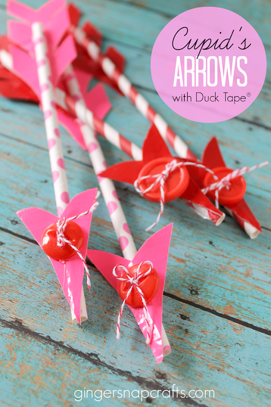 Cupid's Arrows with Duck Tape #Valentine #craft #ducktape #spon GingerSnapCrafts.com