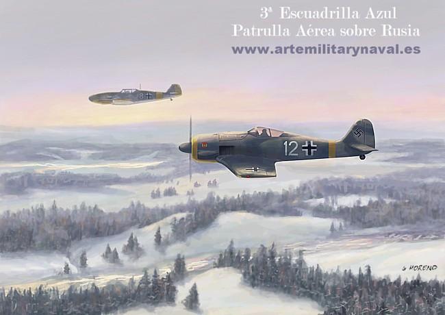 Pintura de un fw-190 de la Tercera Escuadrilla Azul durante la Segunda Guerra Mundial