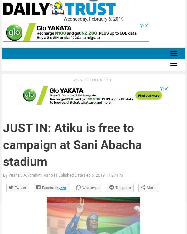 Atiku Is Free To Campaign At Sani Abacha Stadium – Kano Government