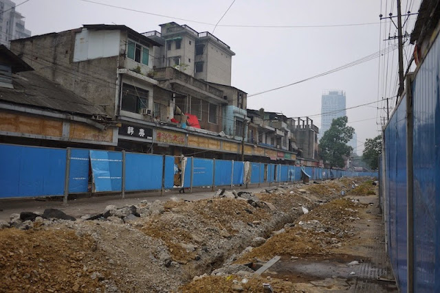 torn up Beizheng Street in Changsha, China
