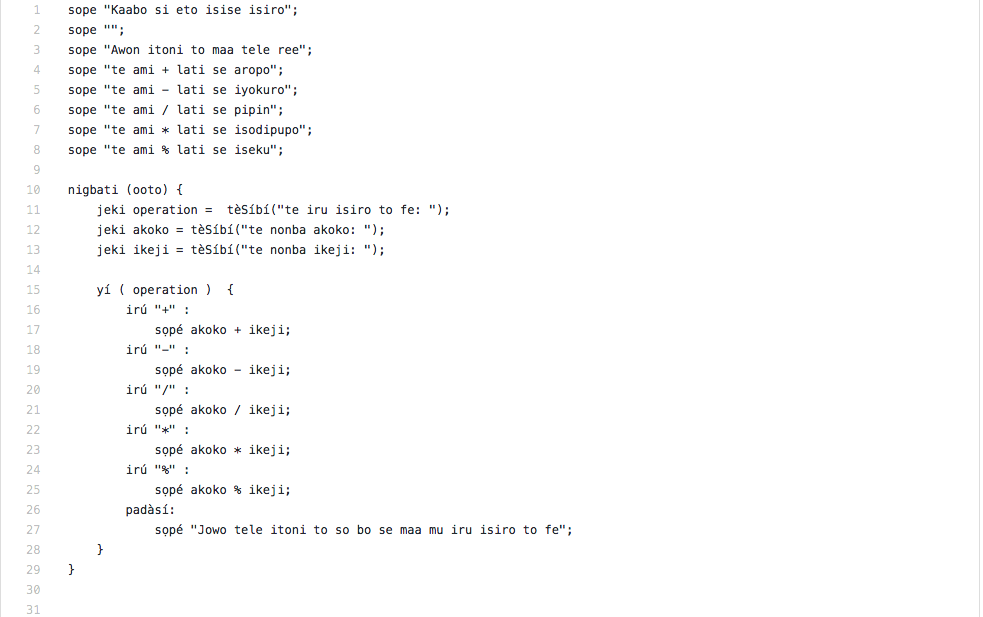 Programmez en Yoruba avec YorLang, A Unix Mind In A Windows World