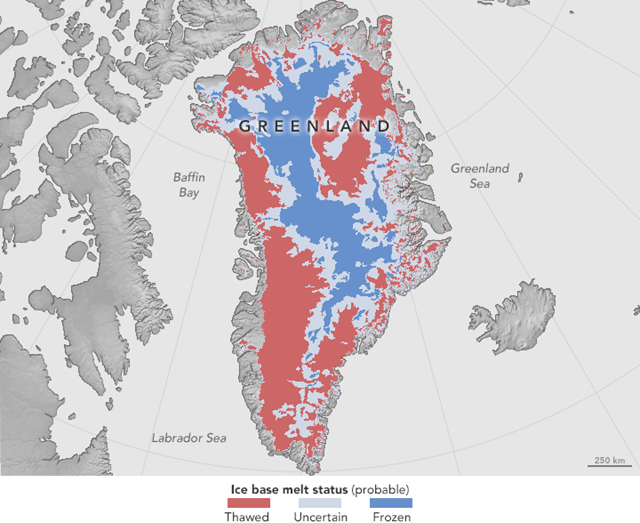 A new study synthesizes NASA airborne and satellite data from the past two decades to infer the Greenland Ice Sheet's basal thermal state. This map shows the results of this synthesis. Red areas show where the ice is likely thawed on the bottom (43 percent of the ice sheet), and blue areas show where it is likely frozen (24 percent). Gray areas are where the thermal state is uncertain. Graphic: MacGregor, et al., 2016 / JGR
