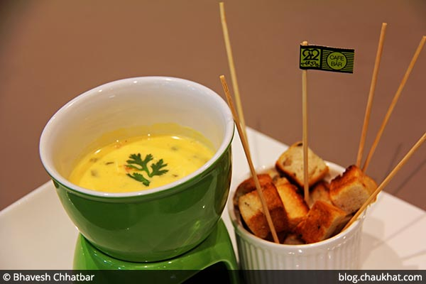 Cheese Fondue served at 212 All Day Cafe & Bar at Phoenix Marketcity in Pune