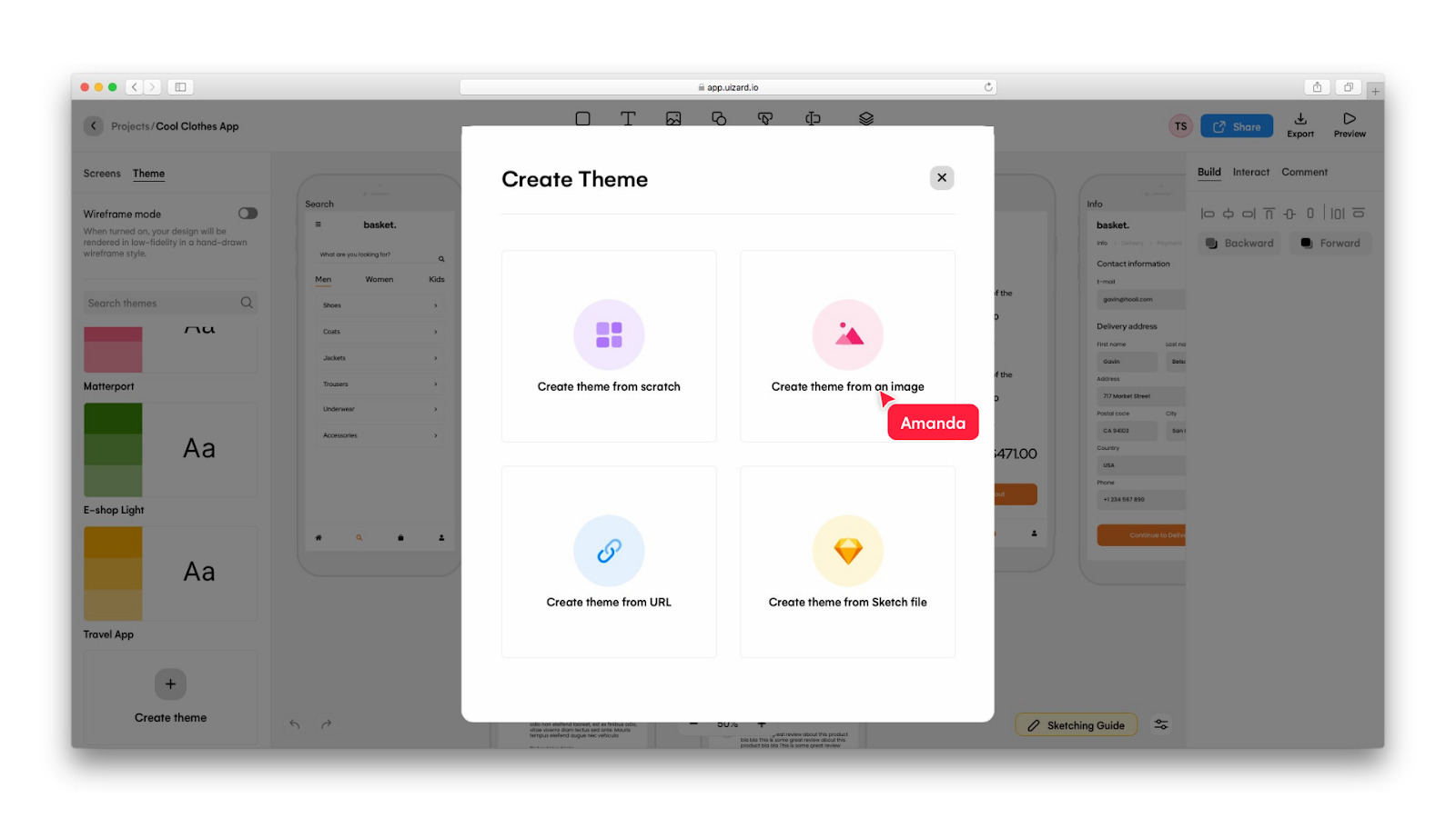 Clicking 'Create theme from image' in Uizard - Uizard and Dribbble