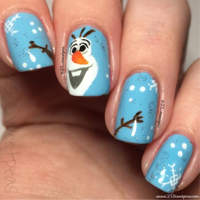 Blue Christmas Nail Art: 25 Sweetpeas