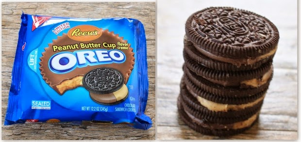 photo collage of a package of peanut butter cup oreos and a stack of oreos