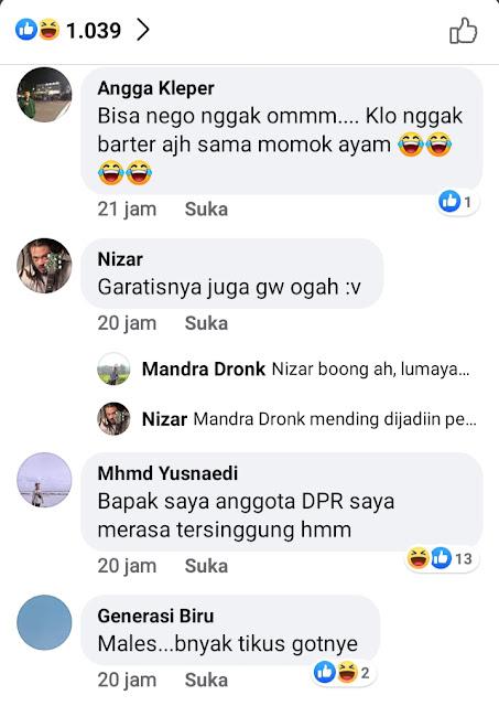 Viral Postingan Netizen Yang Menjual Gedung DPR di Salah Satu Group Facebook