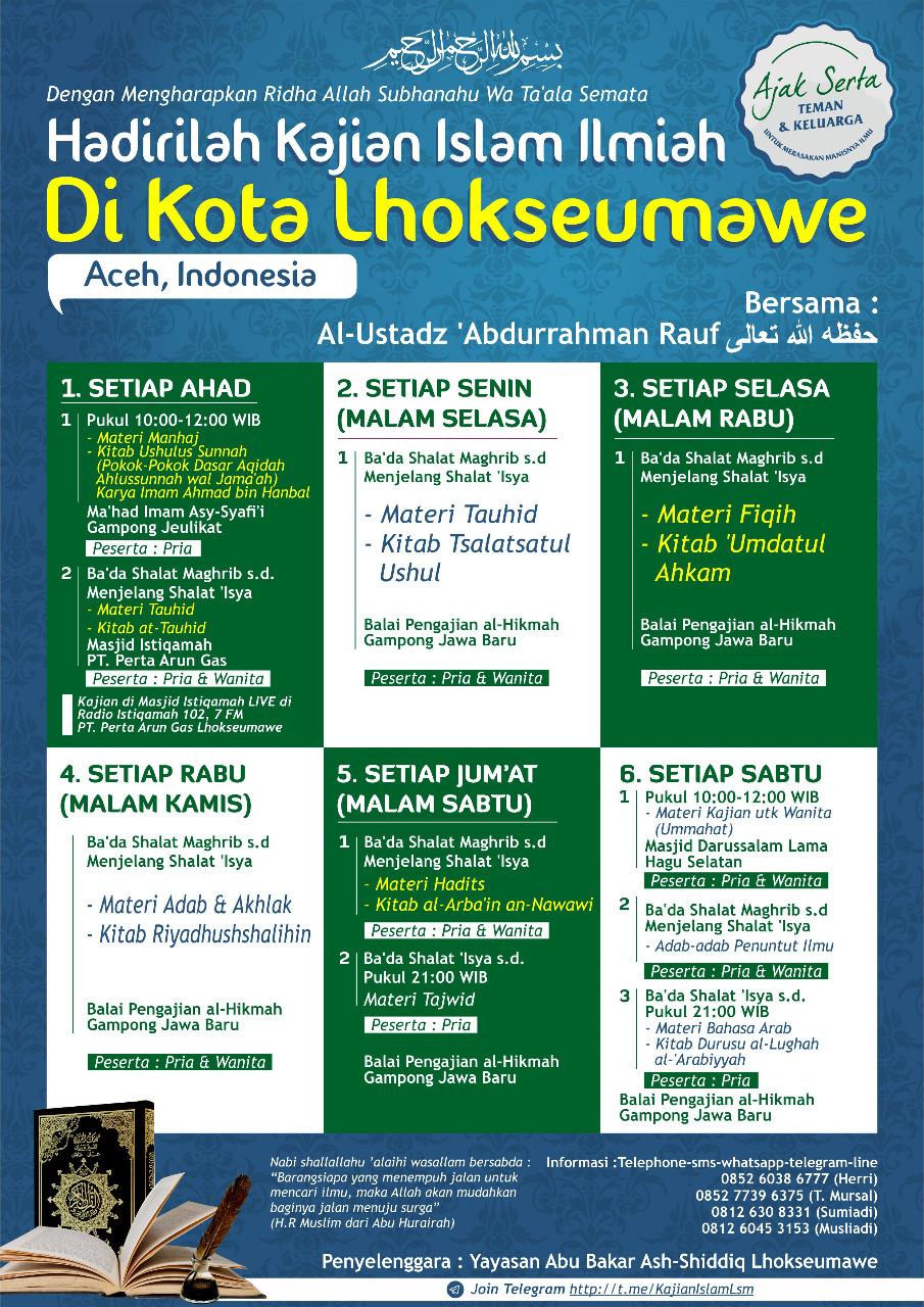 Informasi Jadwal Kajian Sunnah di Lhokseumawe