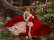 Fantasy Red Dress And A Flower Girl